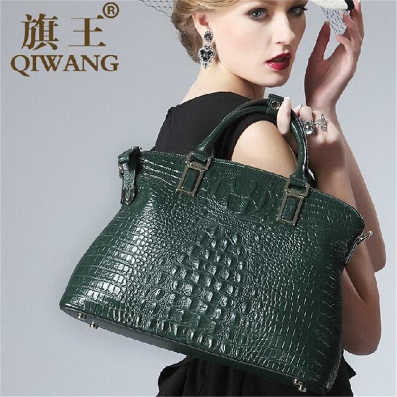 Qiwang Authentique Femmes Crocodile Sac 100% En Cuir Véritable Femmes Sac À Main Vente Chaude Fourre-Tout Femmes Sac Grande Marque Sacs De Luxe - 6