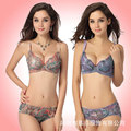 New underwear women bra set 2015 push up bra embroidery sexy bra and panty sets A B C cup lace brassiere lady bra & brief sets