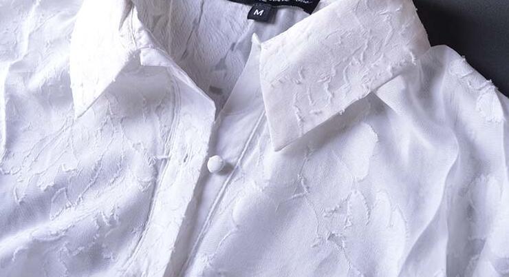 Fendue Femmes À Wishbop Robe Maxi Blanc De Amour Sexy Dentelle Broderie Col Chemise Boutons Aéré 2016 Manches Longues Soie gBBwqP5