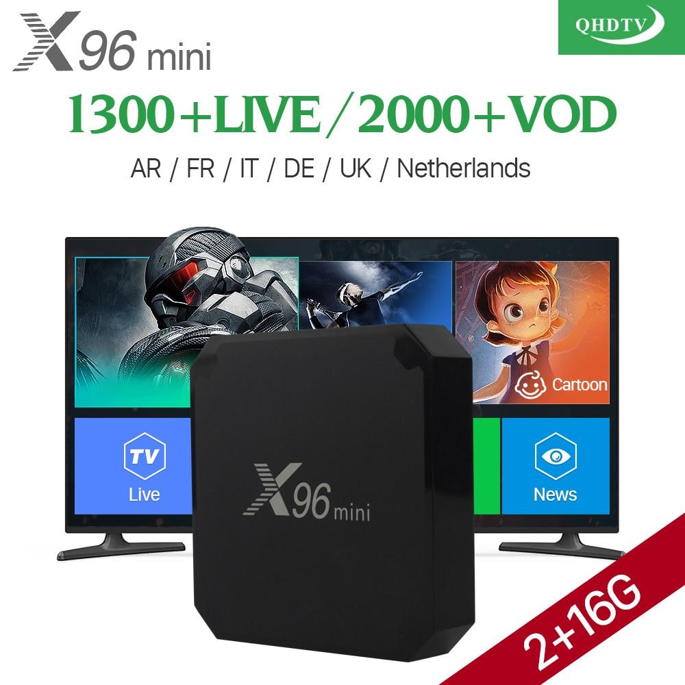 Arabic IPTV Box VOD 2000 X96 mini Android 7.1 Smart TV BOX QHDTV Subscription Code X96MINI Europe French Italia IPTV Top Box