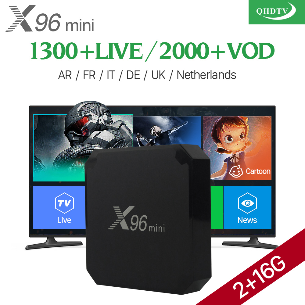 Arabic IPTV Box VOD 2000 X96 mini Android 7.1 Smart TV BOX QHDTV Subscription Code X96MINI Europe French Italia IPTV Top Box