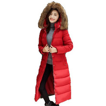 2016 New Winter Thicken Down Jacket Women Large Fur Collar Hooded Padded Jacket Coat Slim ExtraLong Coat Outerwear Parkas A1852