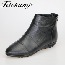 Genuine leather boots women 2016 New Arrival Women ankle Boots Fashion Spring Autumn womens Big size 34-41 Free Shipping
