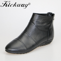 2018 Fashion Ankle Boots For Women Genuine Leather Shoes Women Black Mom Women Shoes Round Toe Soft Non Slip Flats Plus Size 44