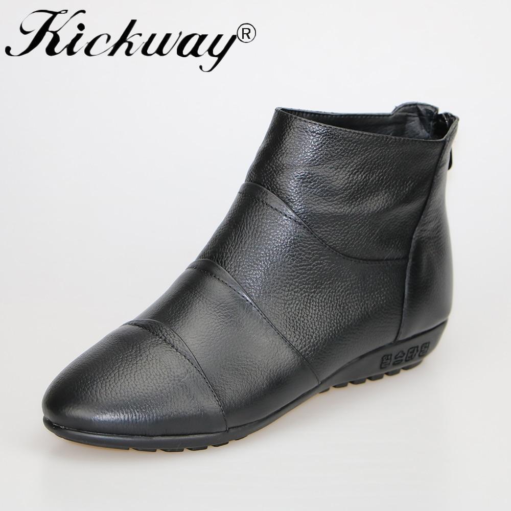 Kickway Plus size 34 44 Genuine leather font b boots b font women Women ankle font