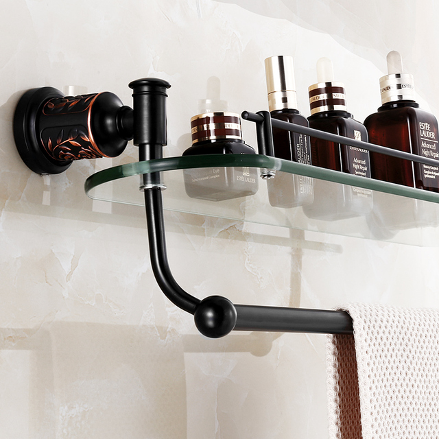 Auswind antique black oil rubbed bronze bathroom shelf for Black glass bathroom accessories