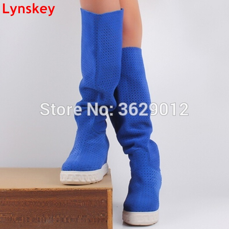 Lynskey New Fashion Women Style Height Increasing Round Toe Knee High Boots Blue/Red/Black Suede Platform Lady Slip-on Boots round toe suede slip on plimsolls