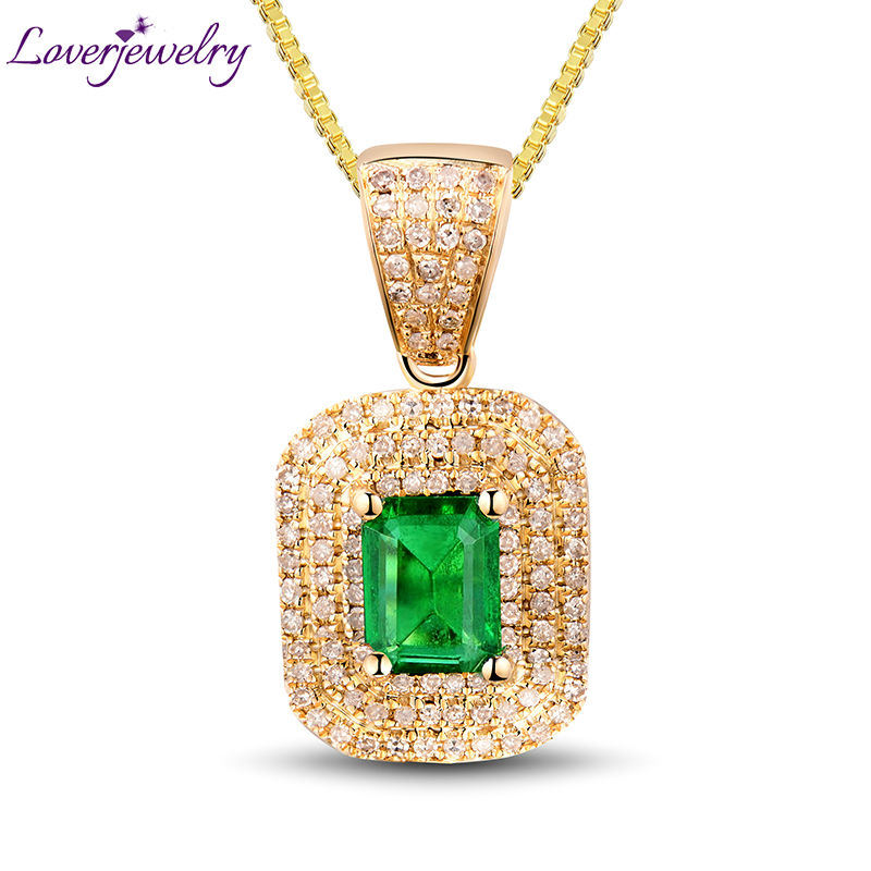SOLID 14KT YELLOW GOLD NATURAL GORGEOUS EMERALD DIAMOND WEDDING PENDANT FOR WOMEN 2T018