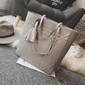 2017 New Women Brief Large Capacity Shoulder Bag Lady Tassel Vintage Tote Handbag Pu Soft Leather High Quality Female Bag
