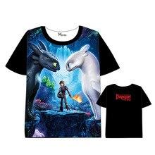 Anime  How to Train Your Dragon3 T-shirt Men Women Short Sleeve Summer dress Cartoon t shirt