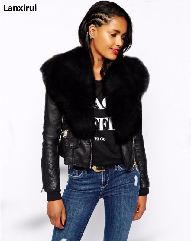 Woman Luxury Faux Fur Collar Jacket Fashion Long Sleeve Metal Zipper Short Black   Leather   Jacket Winter Outwear