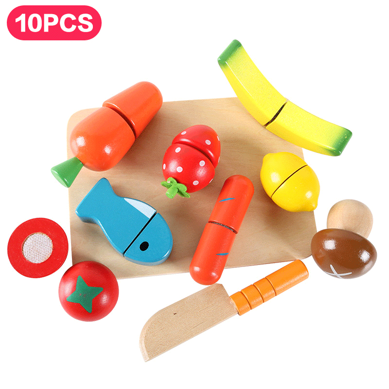 Home Hard-Working Magnet Cut Toy Magnetic Wooden Food Assemble Toys Educational Child Gift Ice Cream #2