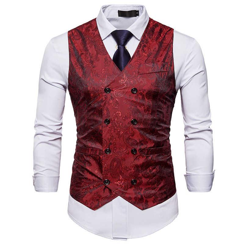 紳士フォーマルなスリムフィットダブルブレストドレススーツベスト 2018 ファッションペイズリープリント男性用ベスト Colete Masculino