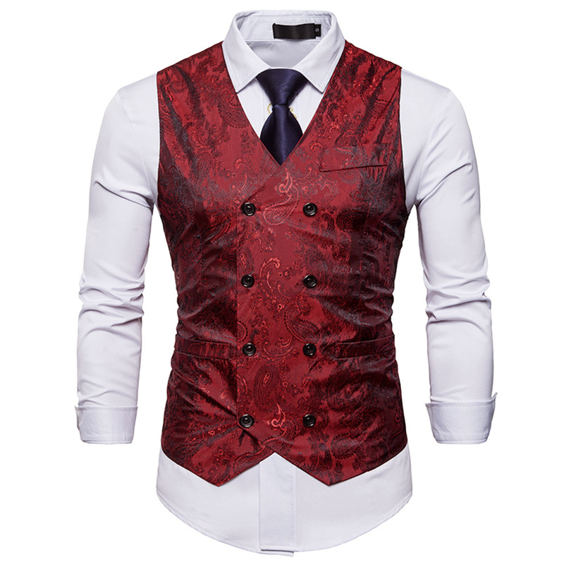 Men's Gentleman Formal Slim Fit Double Breasted Dress Suit Vests Fashion Paisley Print Men Vest Waistcoat Colete Masculino #4