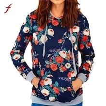 Womens Rose Print Loose Casual Long Sleeve Hoodie Sweatshirt Jumper Pullover Tops Fashion Autumn Winter sweatshirt Female 2017