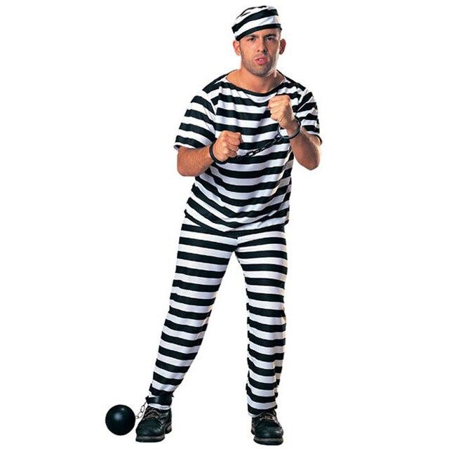 Nueva llegada de los hombres uniforme prisionero racha de carnaval de  disfraces de halloween ropa cosplay 51c8102f7573