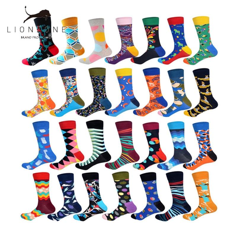 LIONZONE Brand 2018 Autumn Newly Winter Socks Men Fashion Hip Hop 28Colors Colorful Cotton Animal Floral Submarine Happy Socks