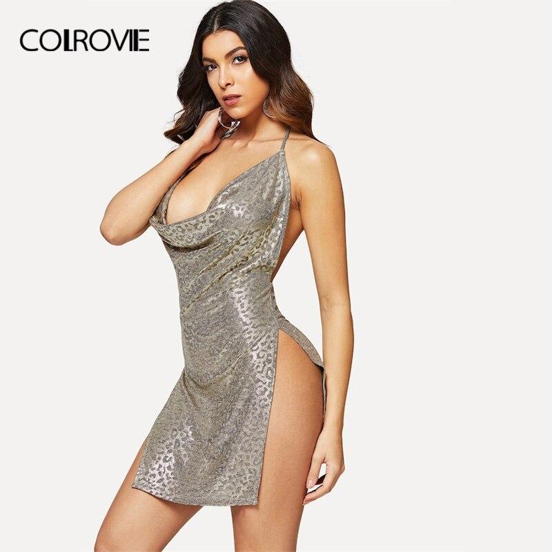 COLROVIE Grey Backless Leopard Print Halter High Slit Metallic Sexy Dress Women 2018 Sleeveless Sheath Vestido Club Mini Dress