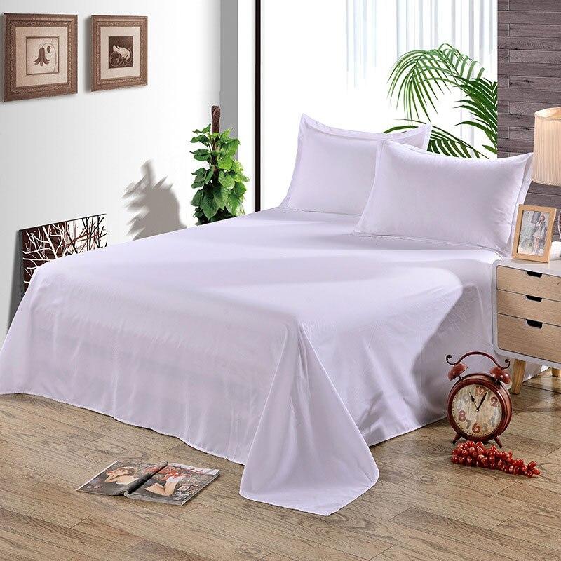 Простыня одноцветная плоская Простыня Постельное белье высокого качества постельное белье - Цвет: pure white