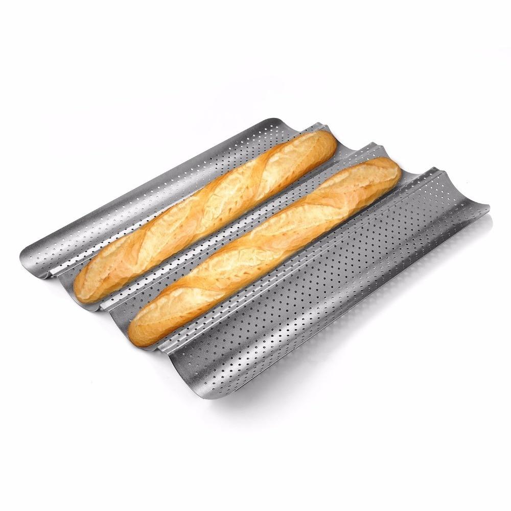 Bandeja para hornear de acero al carbono de grado alimenticio, 4 ranuras, 3 ranuras, 2 ranuras, bandeja para hornear Pan francés, molde para hornear Baguette