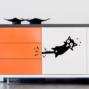 Image 4 - Autocollant interrupteur créatif, Stickers muraux décoratifs pour voiture, en vinyle, avec chat noir, 1 pièce