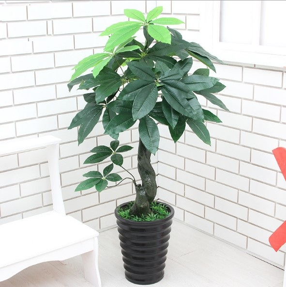 90CM Real Touch Artificial Plants Plastic Artificial Money Tree Tropical Fake Plants Home Garden Decor No Pot
