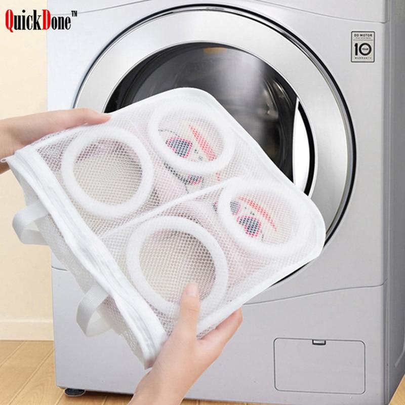 QuickDone Mesh Laundry Bag Portable Washing Machine Shoe Care Organizer Round Square Storage Bags Hanging Shoes Organizer FY0062