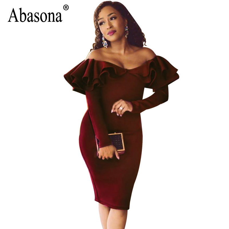 71c220094d Abasona Women Off Shoulder Dresses Long Sleeve Ruffles Bodycon Pencil Dress  Elegant Ladies Evening Party Dress