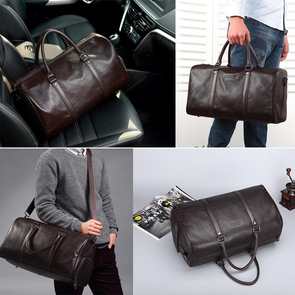 Men Genuine Leather Travel Bag Large Capacity Gym Bag Duffle Bags Big Weekender Luggage Handbag Casual Sports Shoulder Bag FEGER