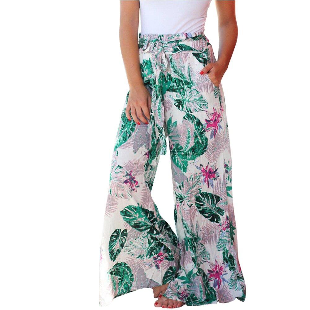 Women Floral Print Belted High Waist   Wide     Leg     Pants   with Pockets for Summer Beach JL