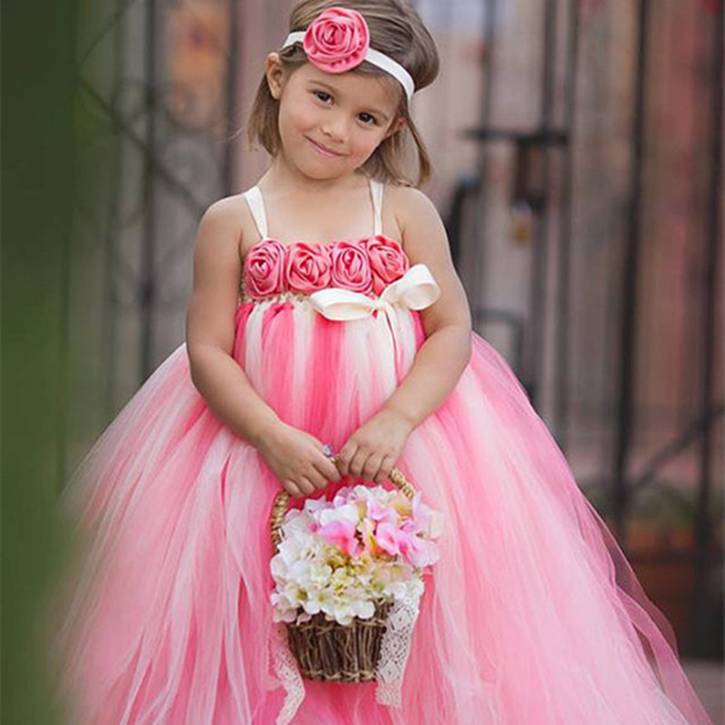 Hot pink and Ivory Flower Girl Dress with Flower Headband Birthday Party Holiday Tutu Dresses For Girls Size 2T-10Y PT59 2016 pink rainbow girl dress cute cake three layer girls tutu dress with blue bow girl clothing for birthday holiday photo