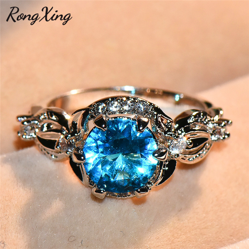 Crossed Wedding Bands.Us 2 99 40 Off Rongxing Mystic Round Stone Lake Blue Birthstone Rings For Women White Gold Zircon Leaf Crossed Finger Ring Cz Wedding Jewelry In