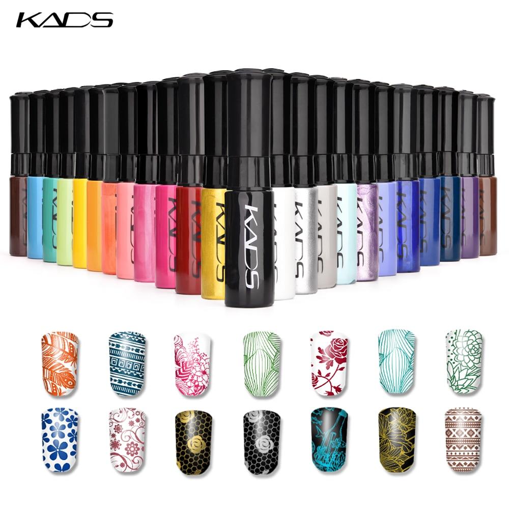 KADS штамп польской 1 бутылка/LOT лак для ногтей и лак для стемпинга дизайн ногтей 31 цветов дополнительно 10g лак для стемпинга гель лак для ногте...
