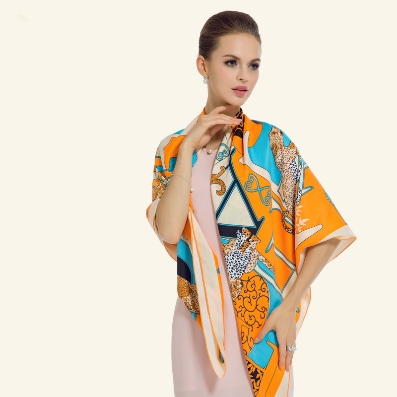 Twill Silk Women Scarf 130*130 cm Euro Design Fashion Leopard Letter Print Square Scarves Brand High Quality Gift Large Shawls