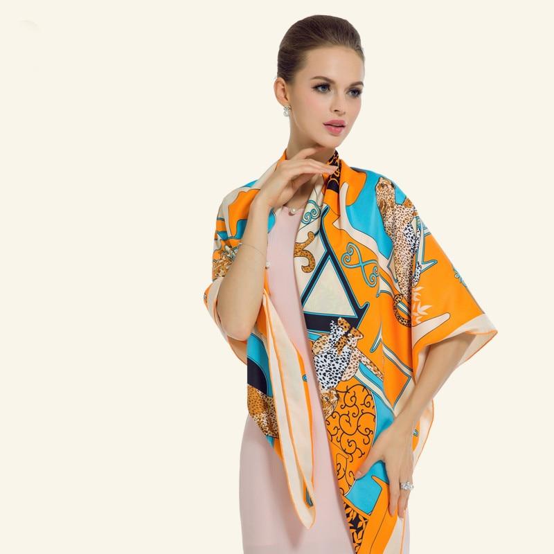 Twill Silk Women Scarf 130 * 130 cm Euro Design Fashion Leopard - Příslušenství pro oděvy