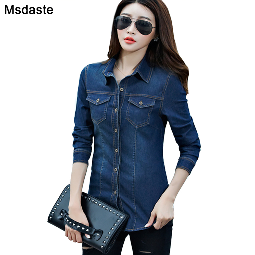 Jeans Shirt Women 2019 Long Sleeve Slim Casual Vintage Elastic Ladies Denim Shirts Tops Blusas Feminina Woman Blouses And Tops