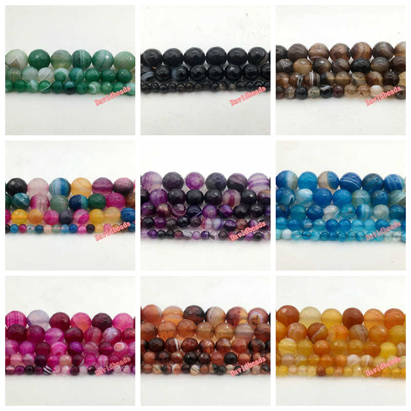 Natural Stone Faceted Blue Green Mixed Magenta Purple Coffee Stripe Agates Beads 4 6 8 10 12mm pick size for jewelry making