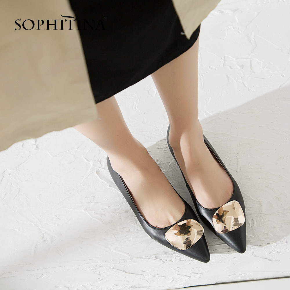 SOPHITINA ファッションポインテッドトゥ快適な高品質本革カジュアルシューズ金属装飾フラット SO157  グループ上の 靴 からの レディースフラット の中 3