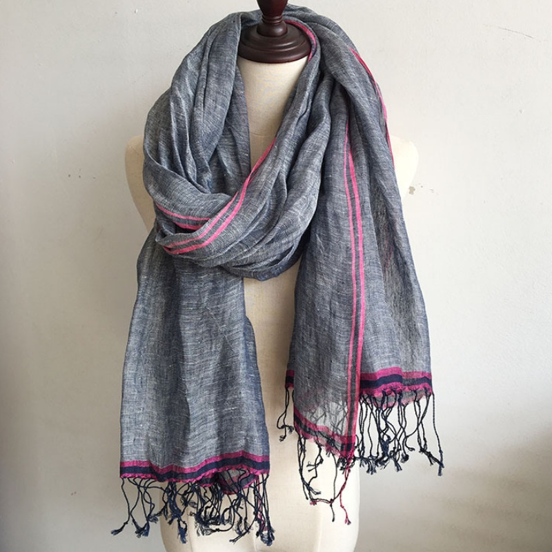 Women and Men's Scarves Super Large Long Scarf Shawl Contrast Color Linen Scarf Wraps
