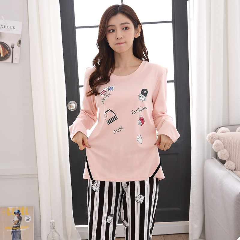 25 Style Young Girl   Pajama     Sets   2018 Spring Autumn Long Sleeve Women SleepwearCarton Cotton   Pajamas   Mujer Women Home Clothes