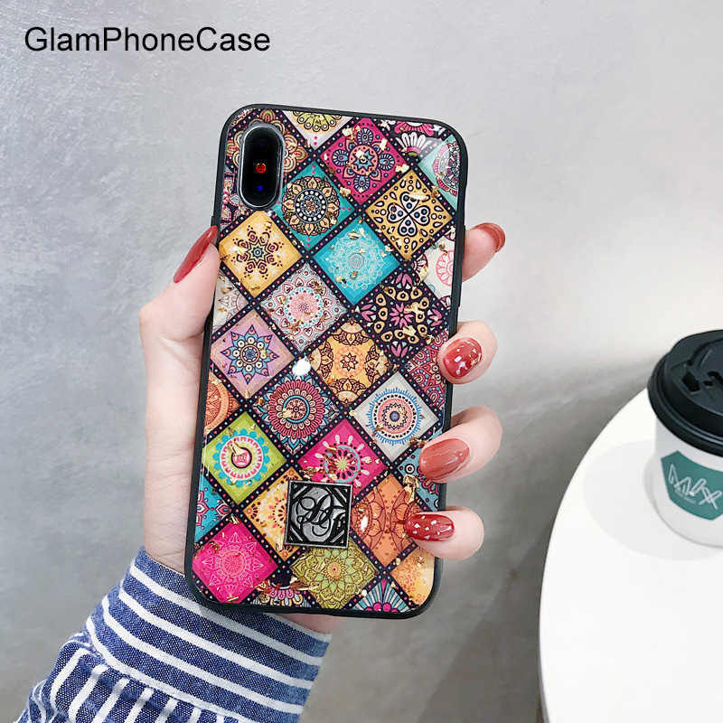GlamPhoneCase Geometric Art Lattice Phone Case For iphone XS Max Case For iphone XR X 8 7 6S 6 Plus Retro Luxury Glitter Cover iphone ケース リング ベルト