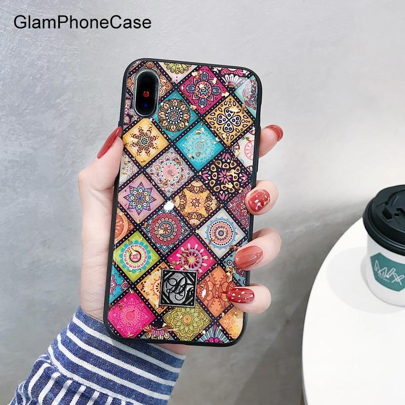GlamPhoneCase Geometrische Kunst Gitter Telefon Fall Für iphone XS Max Fall Für iphone XR X 8 7 6 s 6 plus Retro Luxus Glitter Abdeckung