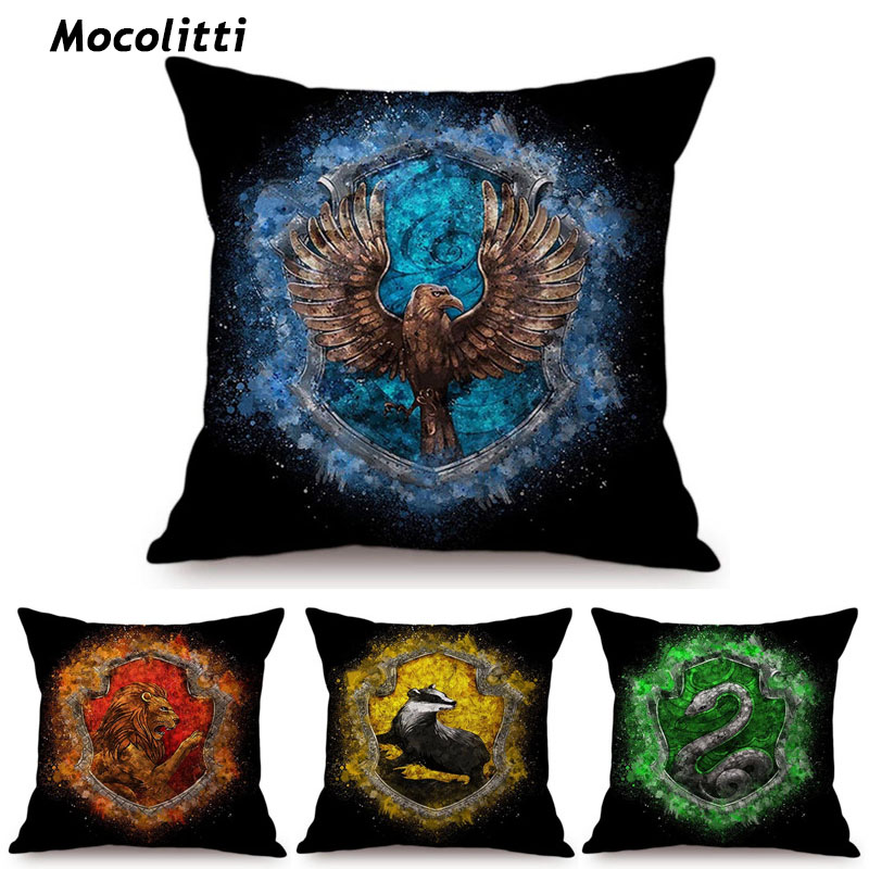 Home & Garden Steady Harry Potter Blue Yellow Green Red Hogwarts 4 Houses Logo Sign Cushion Cover Watercolor Home Decoration Sofa Throw Pillow Cover Commodities Are Available Without Restriction
