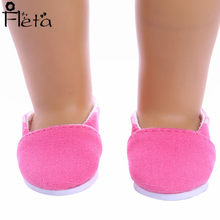 Doll Accessories Hot Pink Loafers for the New Fashion of 18-inch American Dolls the Best Gift for Children(China)