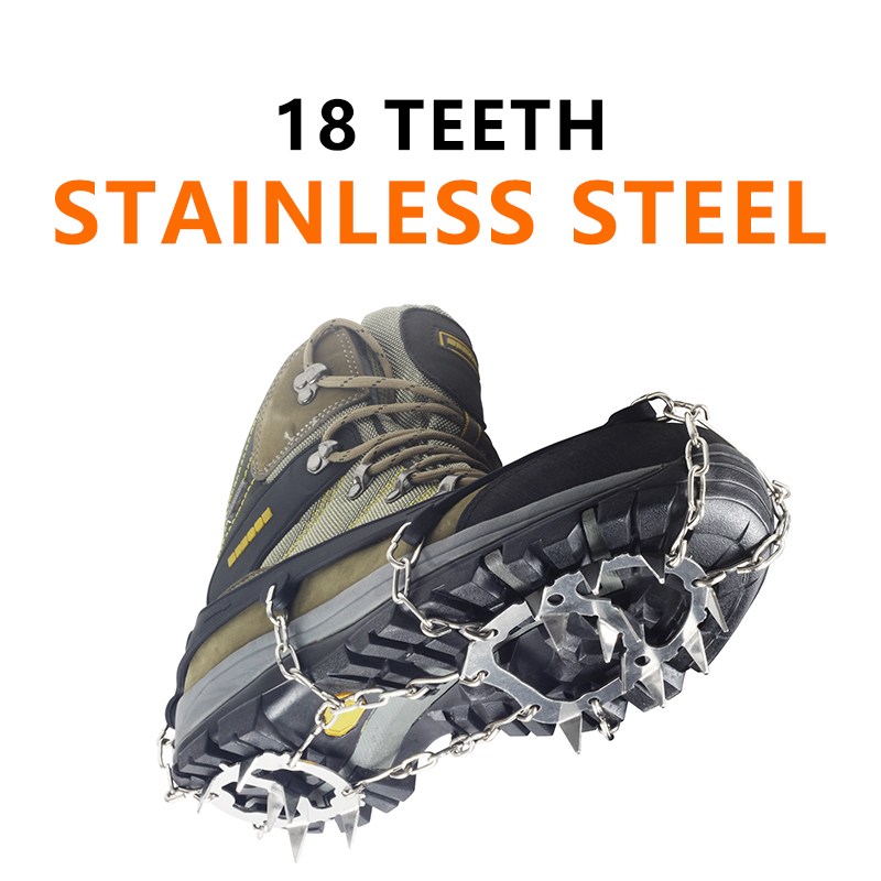 YUEDGE Stainless Steel 18 Teeth Universal Anti Slip Ice Snow Shoe Boot Grips Traction Cleats Crampon Spikes Crampons ramponiYUEDGE Stainless Steel 18 Teeth Universal Anti Slip Ice Snow Shoe Boot Grips Traction Cleats Crampon Spikes Crampons ramponi