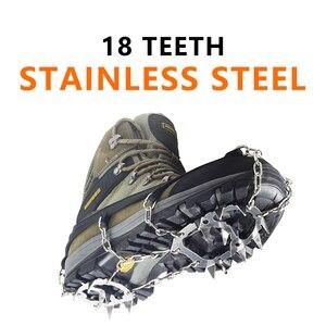 Image 1 - YUEDGE Tacos de crampón de tracción para botas, acero inoxidable, 18 dientes, antideslizantes, para nieve, ramponi