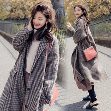 2019 Winter Thick Coat Women Plaid Lapel Pocket Wool Blend Coat Oversize Long Trench Outwear Woolen Coat Plus Size 4XL Sprng New(China)