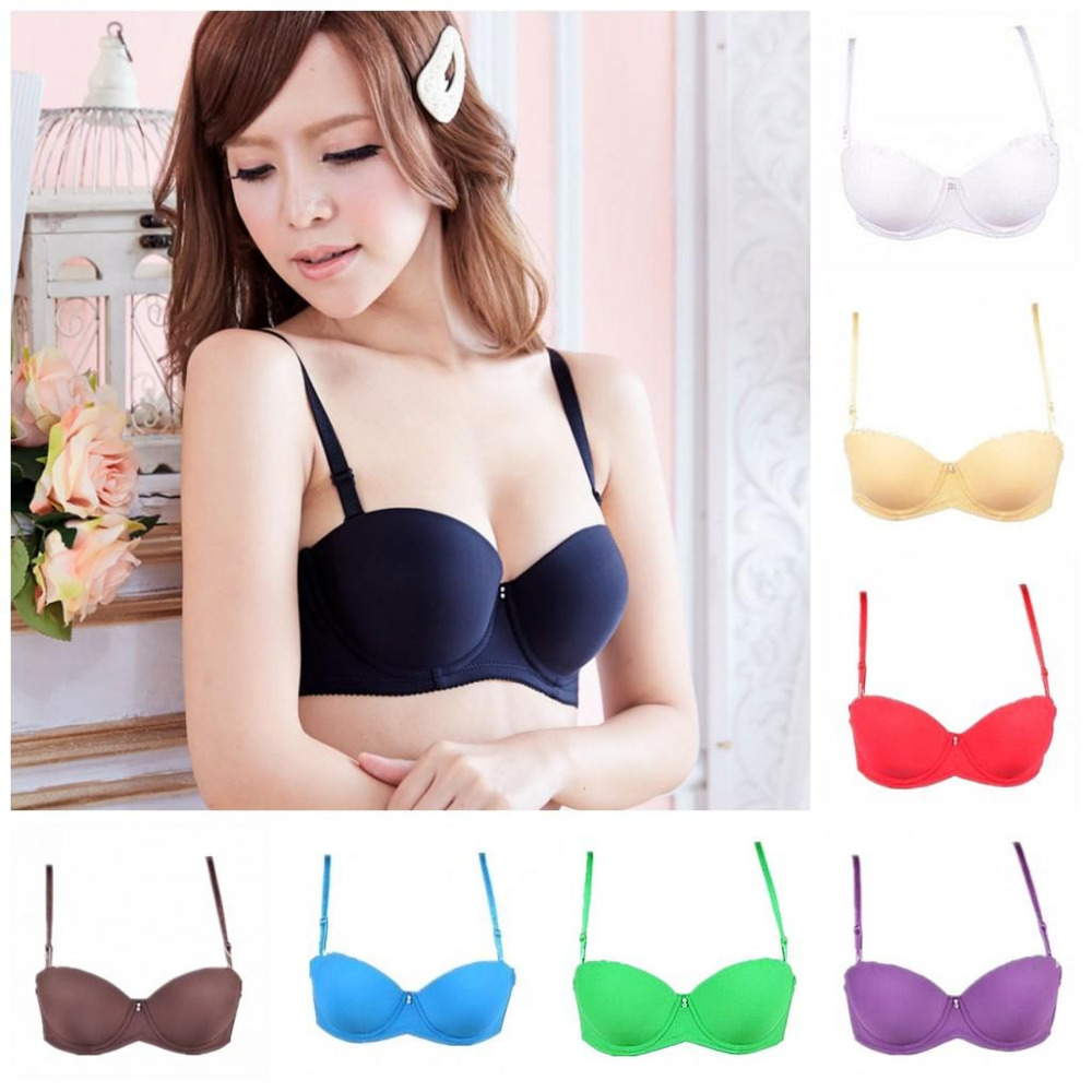 Gather sexy bra thicken padded Strapless cheap push up t-shirt bra for Young girl sexy 1/2 cup bra for women underwire bra H093