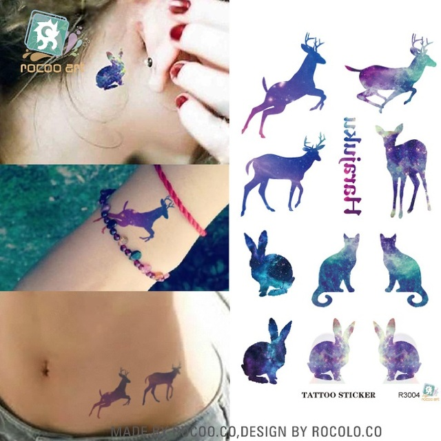 Disposable Water Transfer 3d Tattoo Sticker Color Runs Elk Pattern Temporary Tattoo Stickers Flash Fake Tattoo Foil Decal Taty