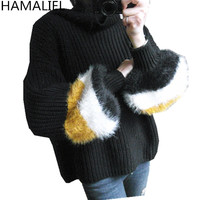 HAMALIEL New Winter Women Turtleneck Knitting Sweater 2018 High Quality Blue Patchwork Long Lantern Sleeve Casual Pullover Tops